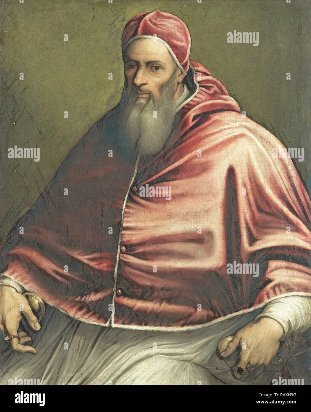 Papst Julius III (ehemals Papst Paul III berechtigt), Kreis von Girolamo Sicciolante, 1550 - 1600. Neuerfundene Stockbild