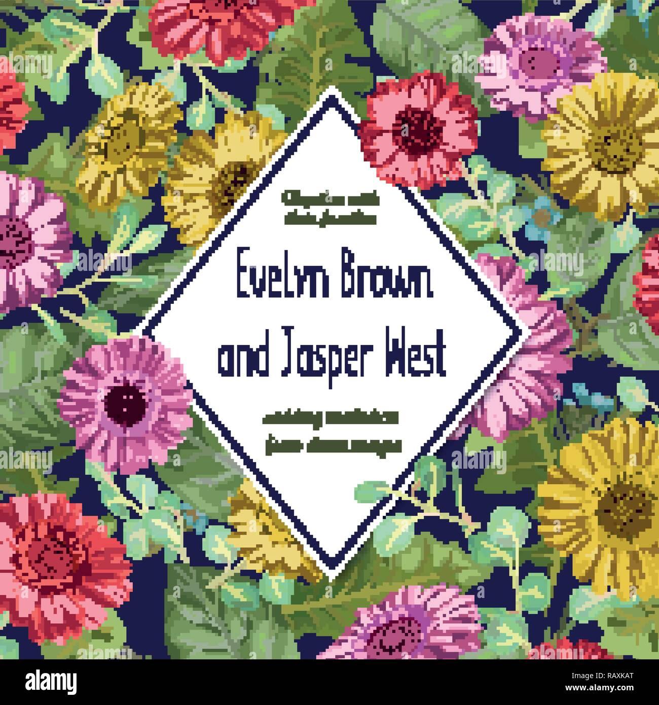 Schöne vector hintergrund hochzeit einladungskarte grußkarte etiketten banner aquarell gelb rot rosa gerbera blumen mit eukalyptus verlassen