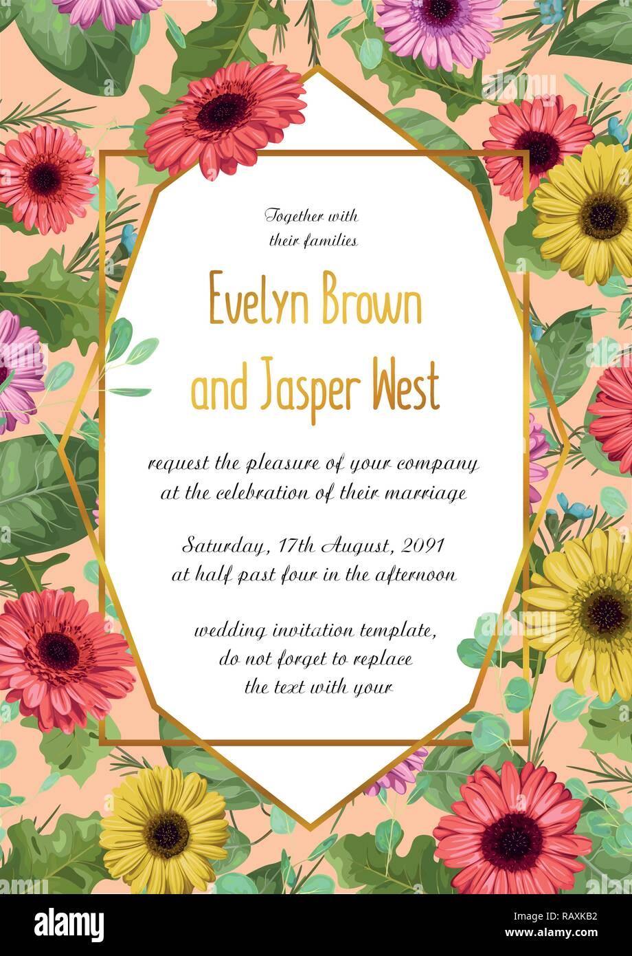 Vektor Sommer Blumen Abbildung Einladung Hochzeit Grusskarte