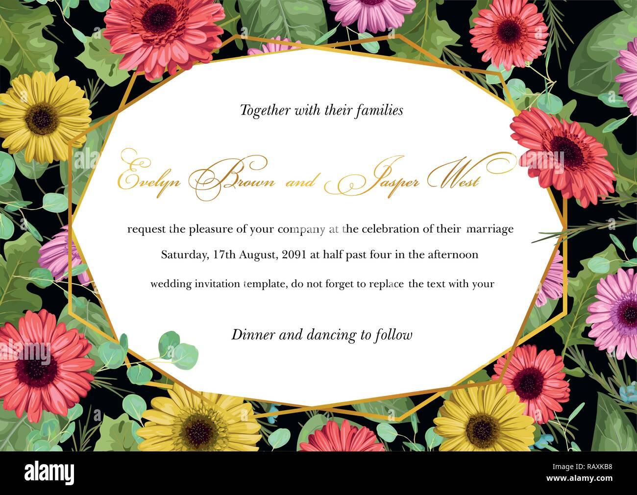 Hochzeit einladung postkarte grußkarte etiketten banner flyer vector illustration aquarell vielfarbigen gerbera blumen mit eukalyptus blätter