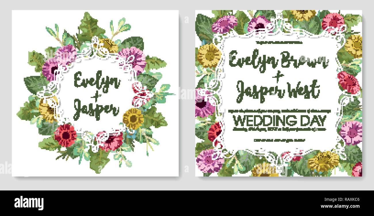 Vorlage der einladung hochzeit grußkarte etiketten schöne farbige gerbera rosenblüten und eukalyptus bran