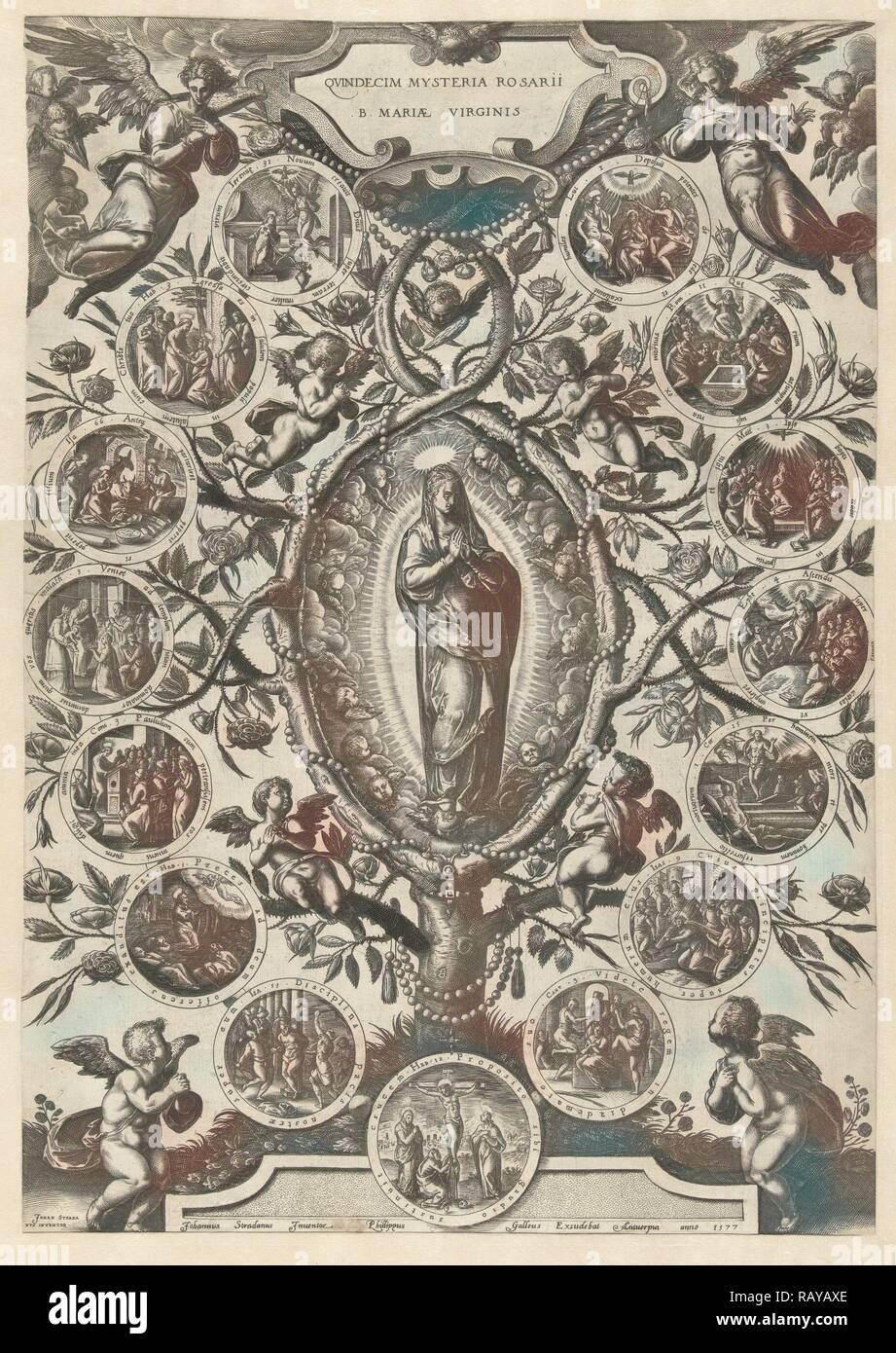 Maria des Rosenkranzes, drucken Teekocher: Jan van der Straet, Philips Galle, 1577. Neuerfundene durch Gibon. Klassische Kunst mit einem Neuerfundene Stockbild