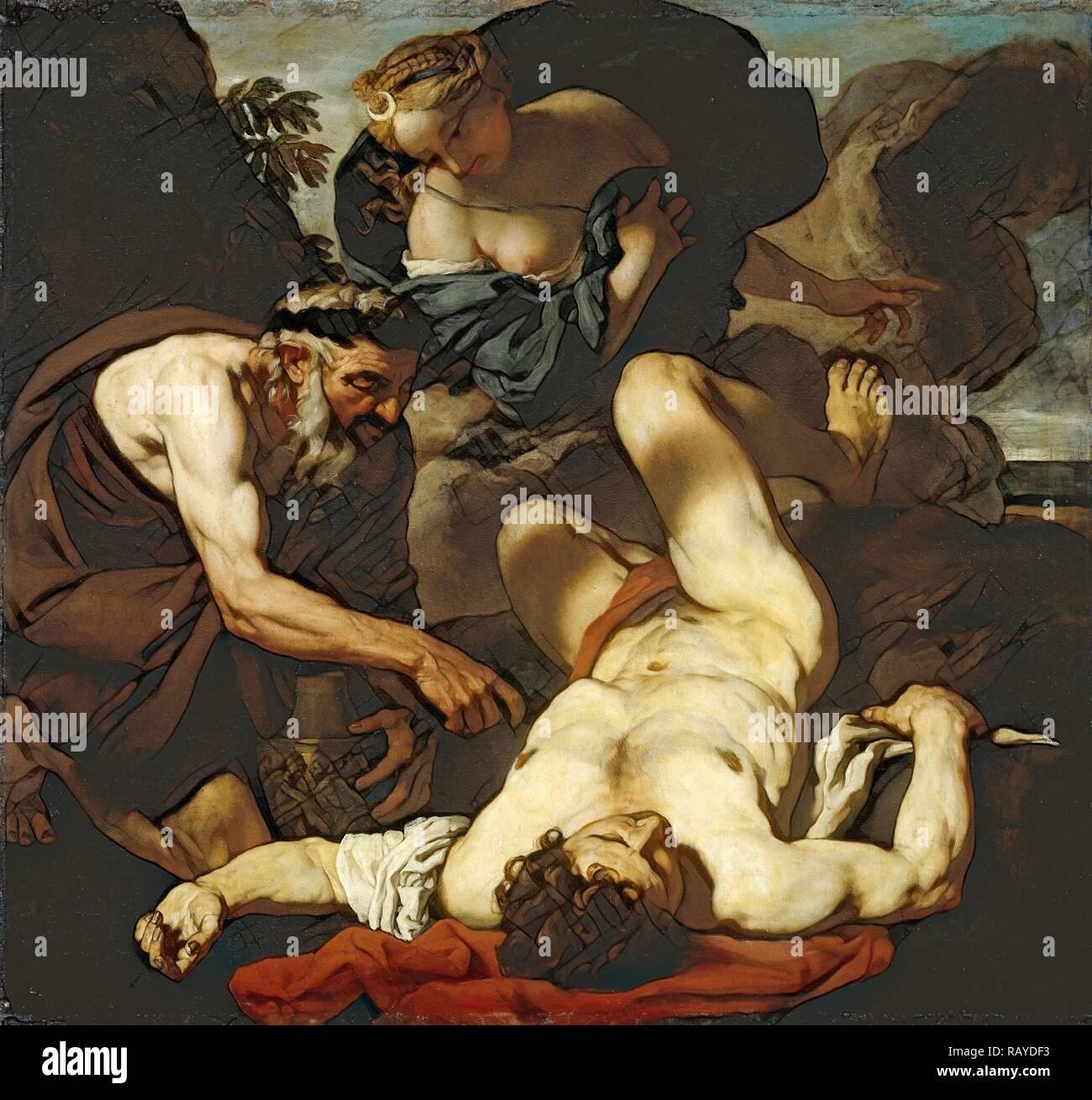 Selene und Endymion, früher berechtigt, den Tod von Orion, Johann Carl Loth, 1660-1680 zugeschrieben. Neuerfundene Stockbild