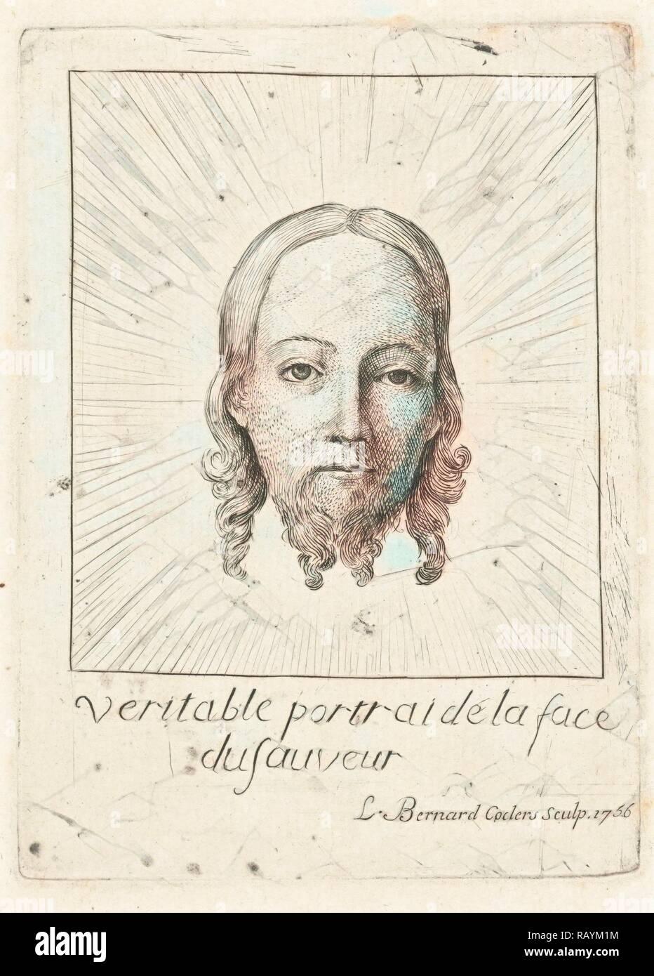 Kopf des Christus in Herrlichkeit, drucken Teekocher: Louis Bernard Coclers, Jan van Eyck, 1756. Neuerfundene Stockbild