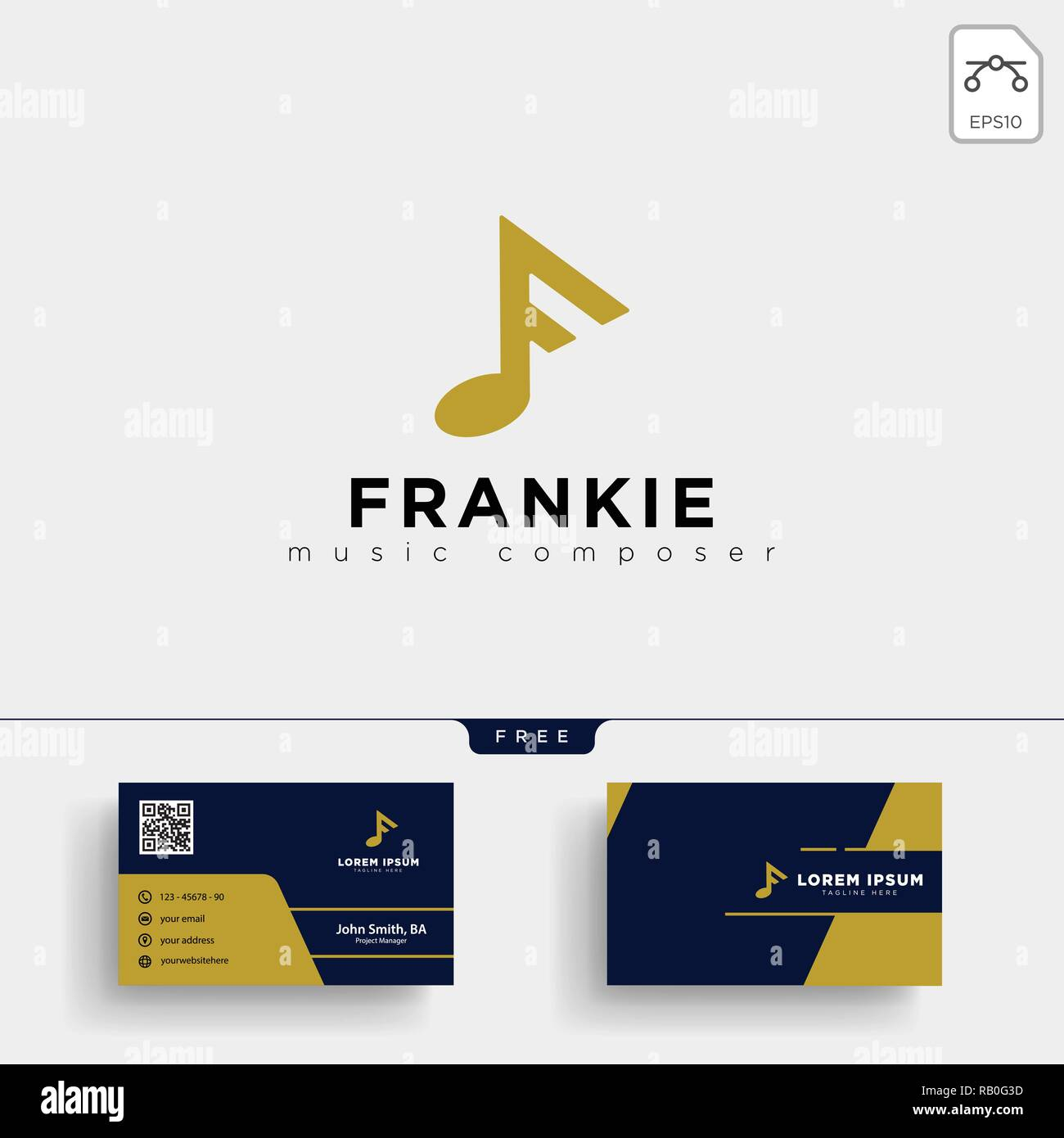 F Musik Logo Template Vector Illustration Und Briefpapier