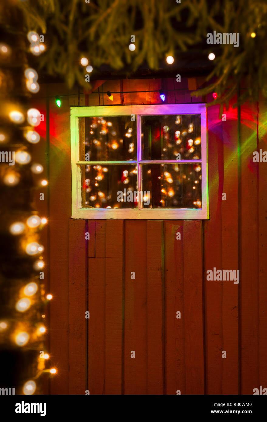 Bunte Weihnachten Lichterketten In Der Nacht In Antike