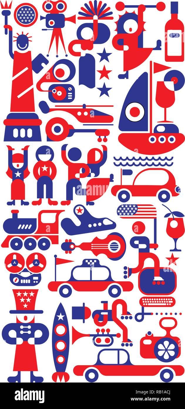 Rot und Blau auf weißem Hintergrund amerikanischer Feiertag Festival Vector Illustration. Stock Vektor