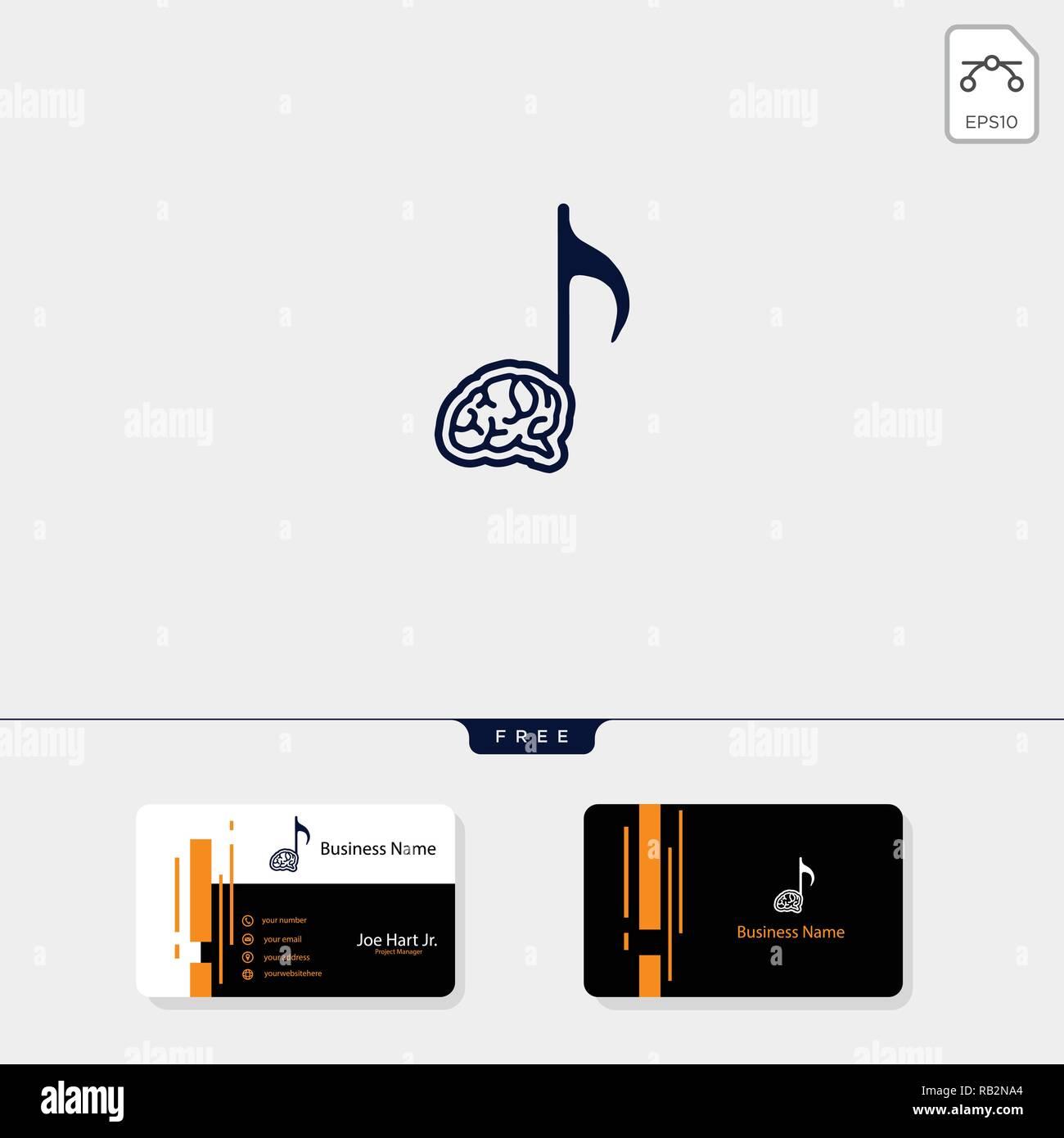 Gehirn Musik Kreative Logo Vorlage Vector Illustration