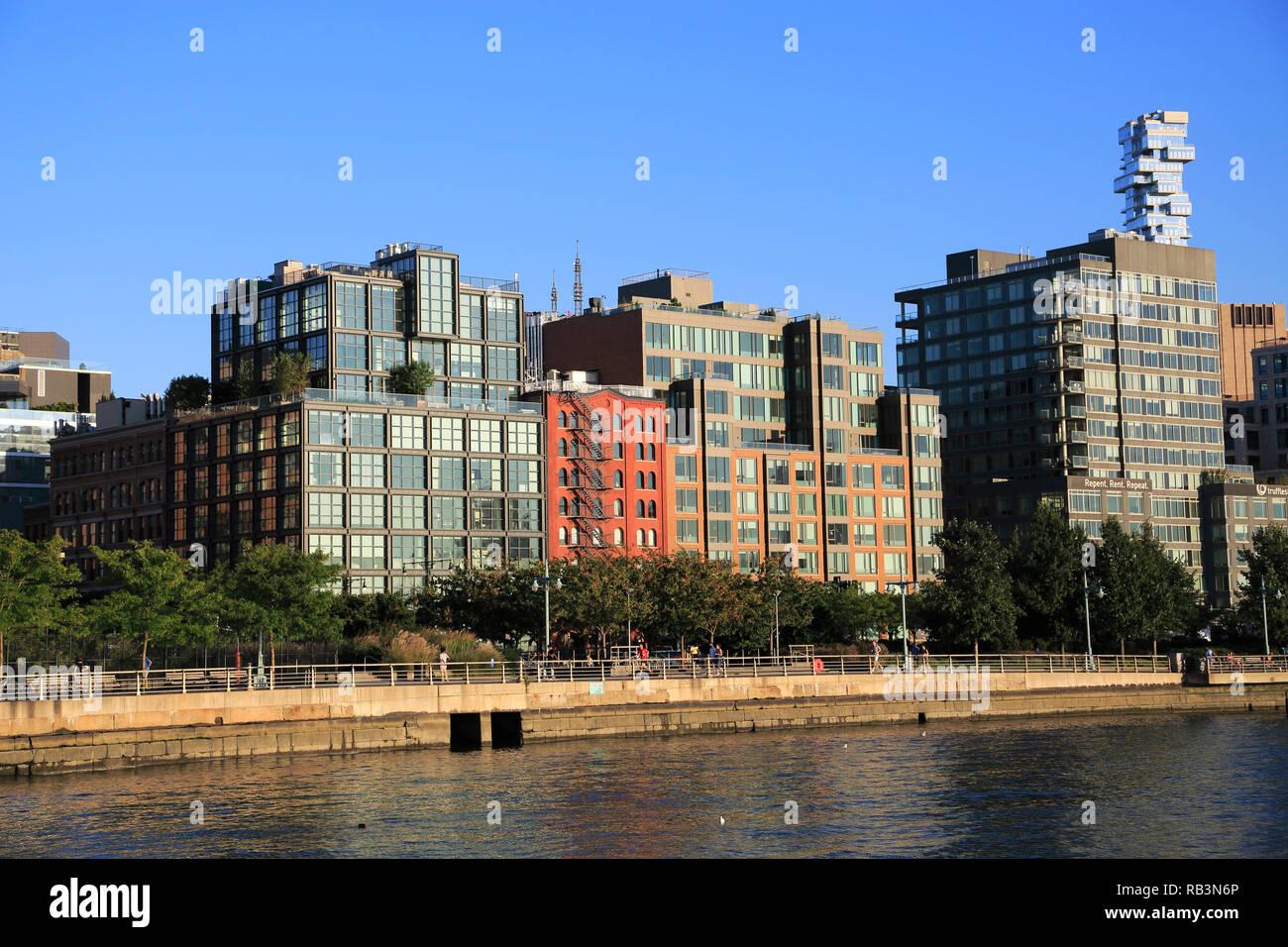 Tribeca, Lower Manhattan, den Hudson River, New York City, USA Stockbild