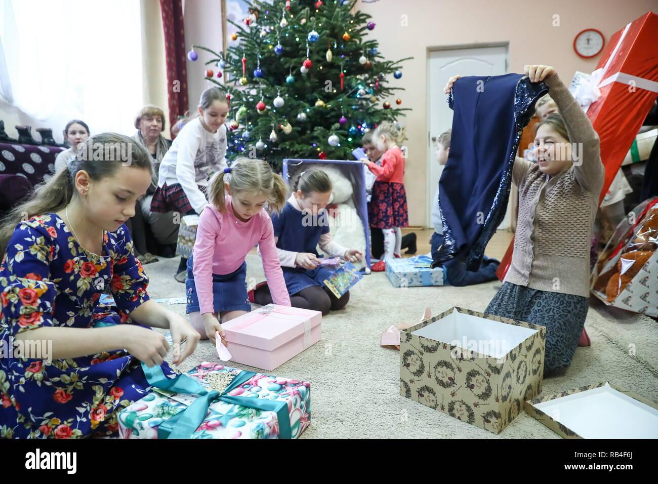 Weihnachtsfeier Im Januar.Region Moskau 7 Januar 2019 Kinder Während Einer Weihnachtsfeier