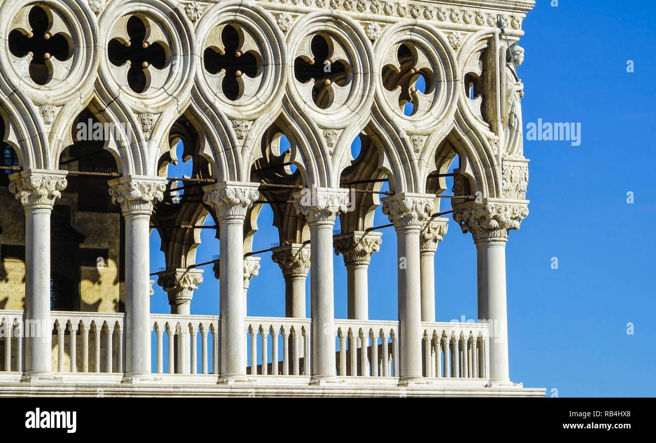 Dogenpalast, Westfassade, Venedig Stockbild