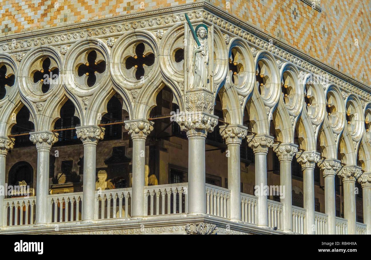 Venedig, Dogenpalast, Loggia Stockbild
