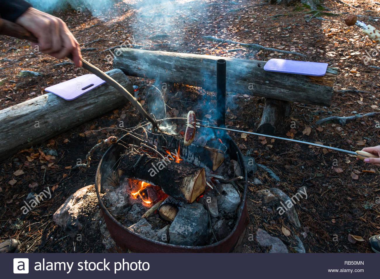 Grillen am Kamin in der schwedischen Natur Stockbild