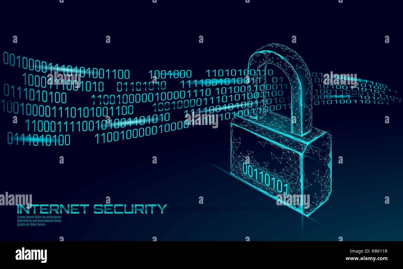Cyber sicherheits Vorhängeschloss auf Daten Masse. Internet Security Lock Informationen Datenschutz Low Poly polygonalen Zukunft Innovation Technology Network Business Concept Blue Vector Illustration Stock Vektor