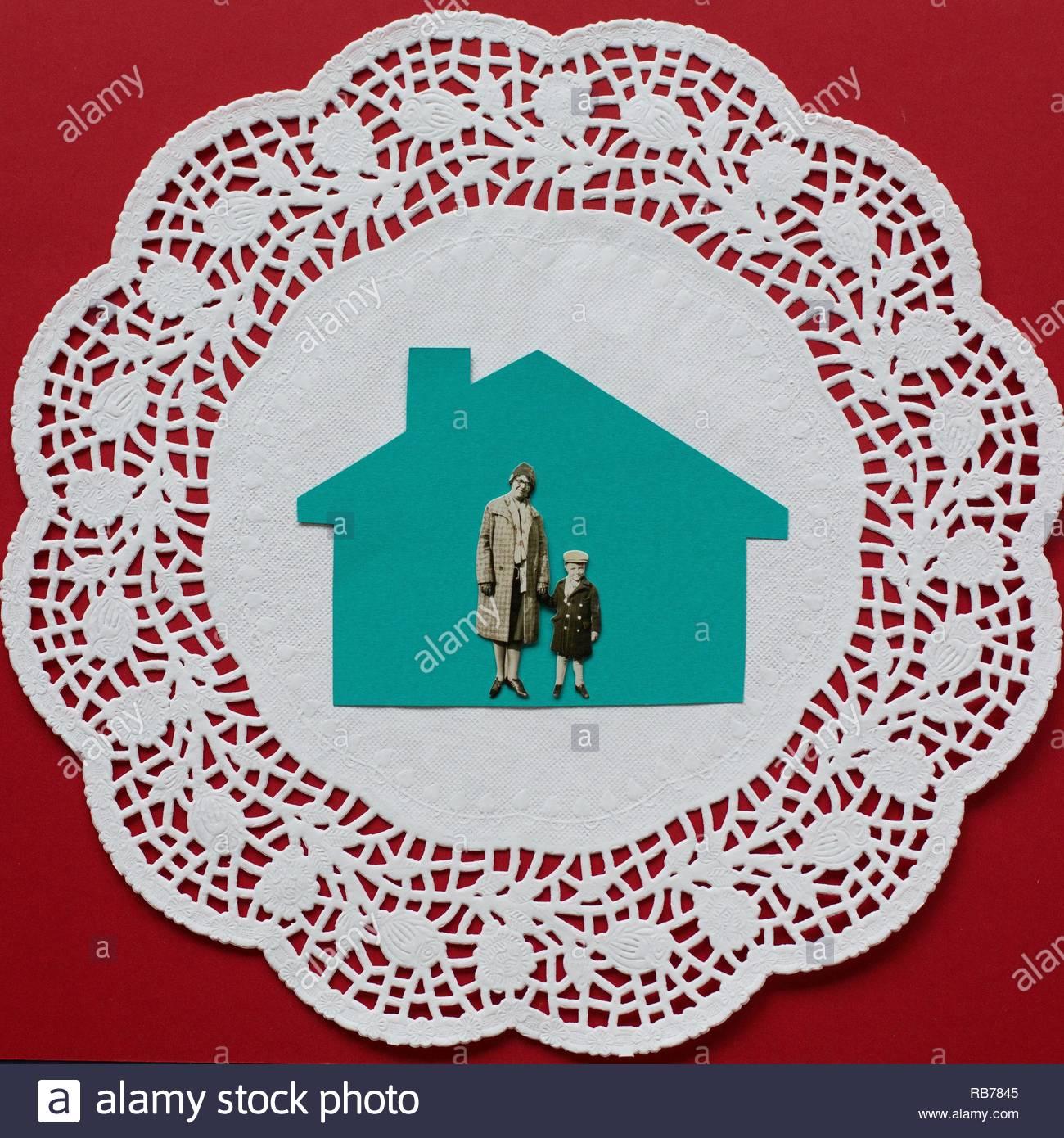 Ein flach Collage von nostalgischen Erinnerungen an Zuhause. Stockbild