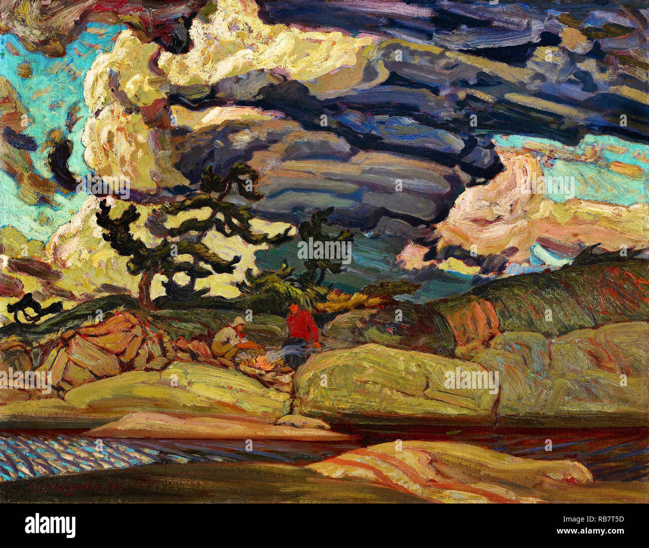 J.E.H. MacDonald, die Elemente 1916 Öl auf Leinwand, Kunstgalerie von Ontario, Toronto, Kanada. Stockbild