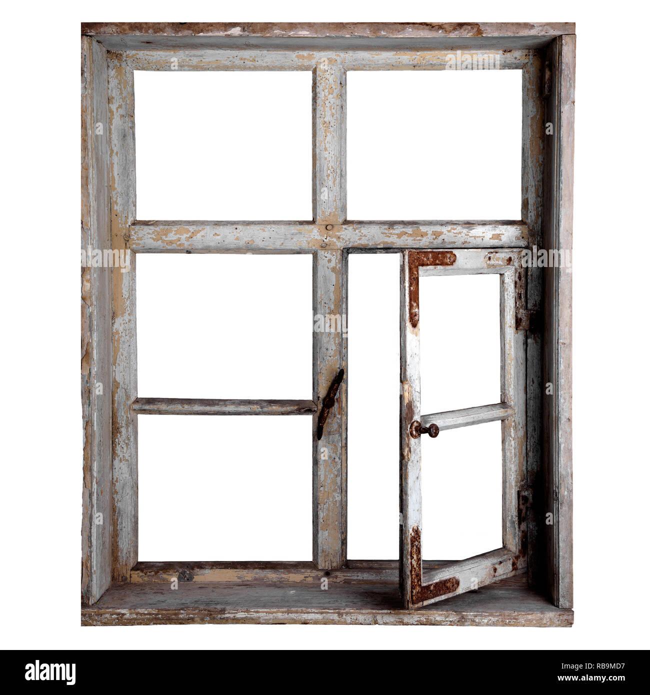 Altes Fenster freigestellt Stockbild