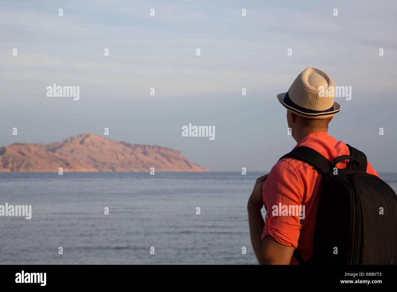 Reisende auf die Insel Tiran suchen in Ägypten Stockbild