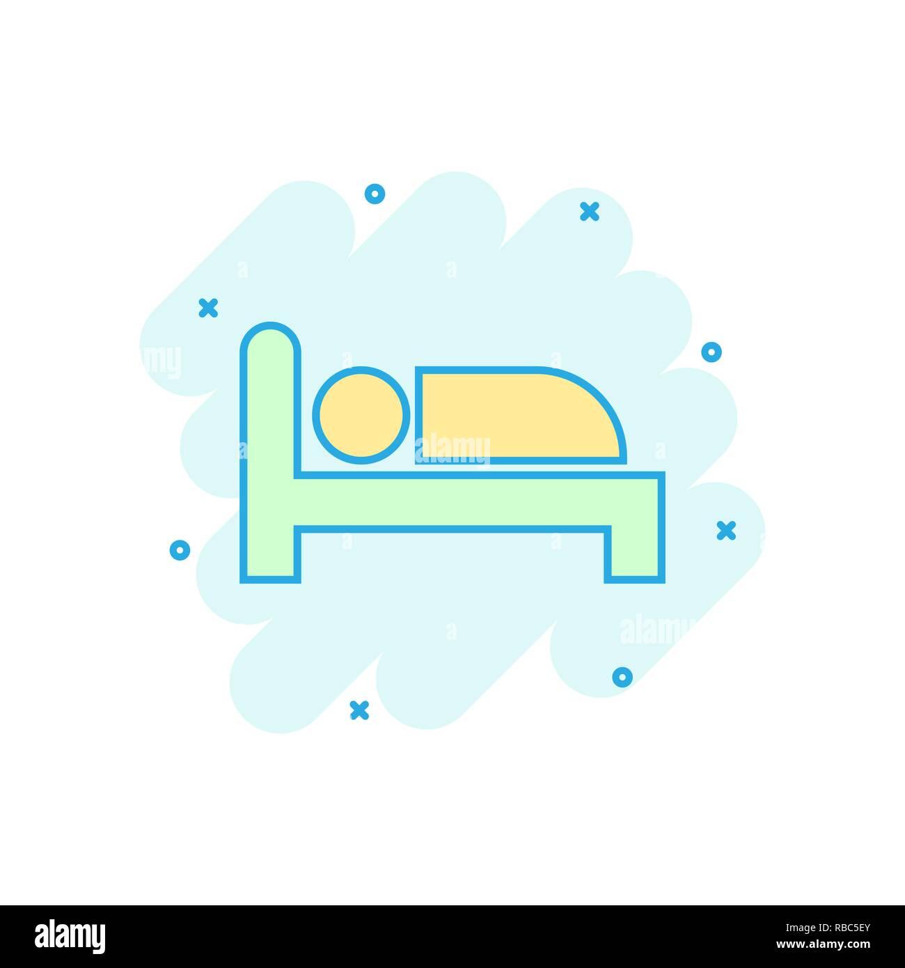Bett Symbol Im Comic Stil Schlafen Schlafzimmer Vektor Cartoon