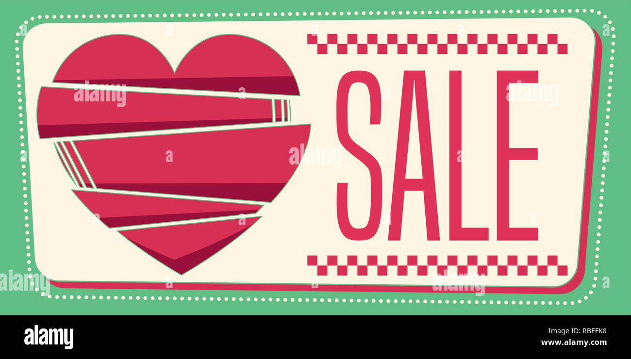 Liebe vintage Verkauf Banner. Zusammensetzung im 50er Stil. Vector Illustration. Stockbild