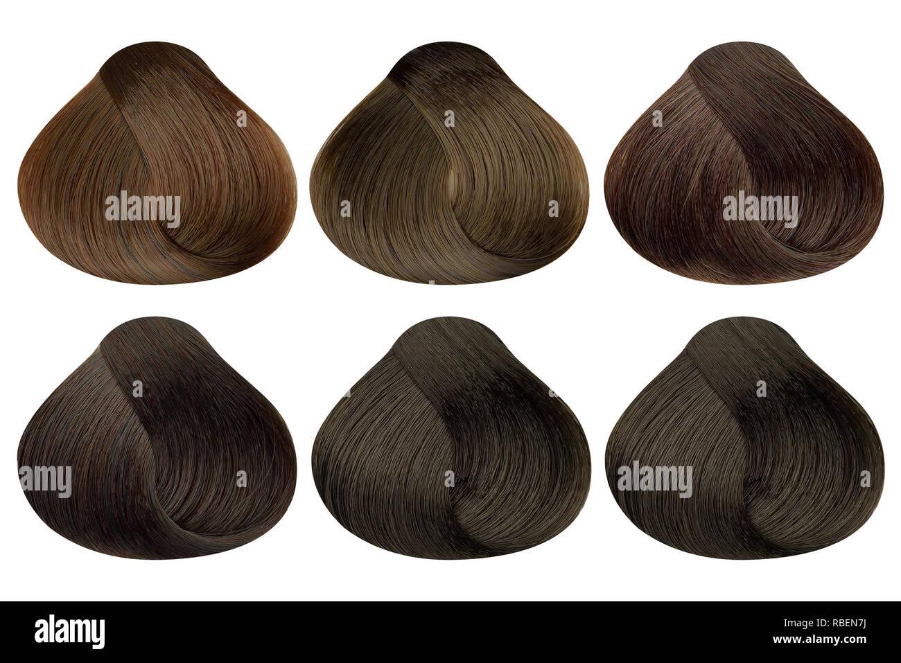 Einrichten Von Sperren Von Sechs Verschiedenen Braun Haarfarbe