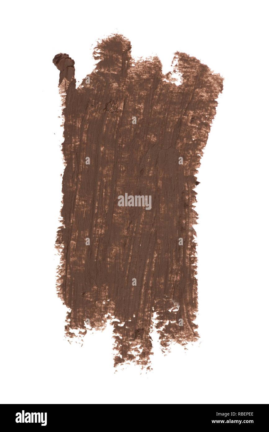 Braune Farbe Kosmetik eyeliner Bleistiftstriche, Beauty Produkt Muster auf weißem Hintergrund Stockbild