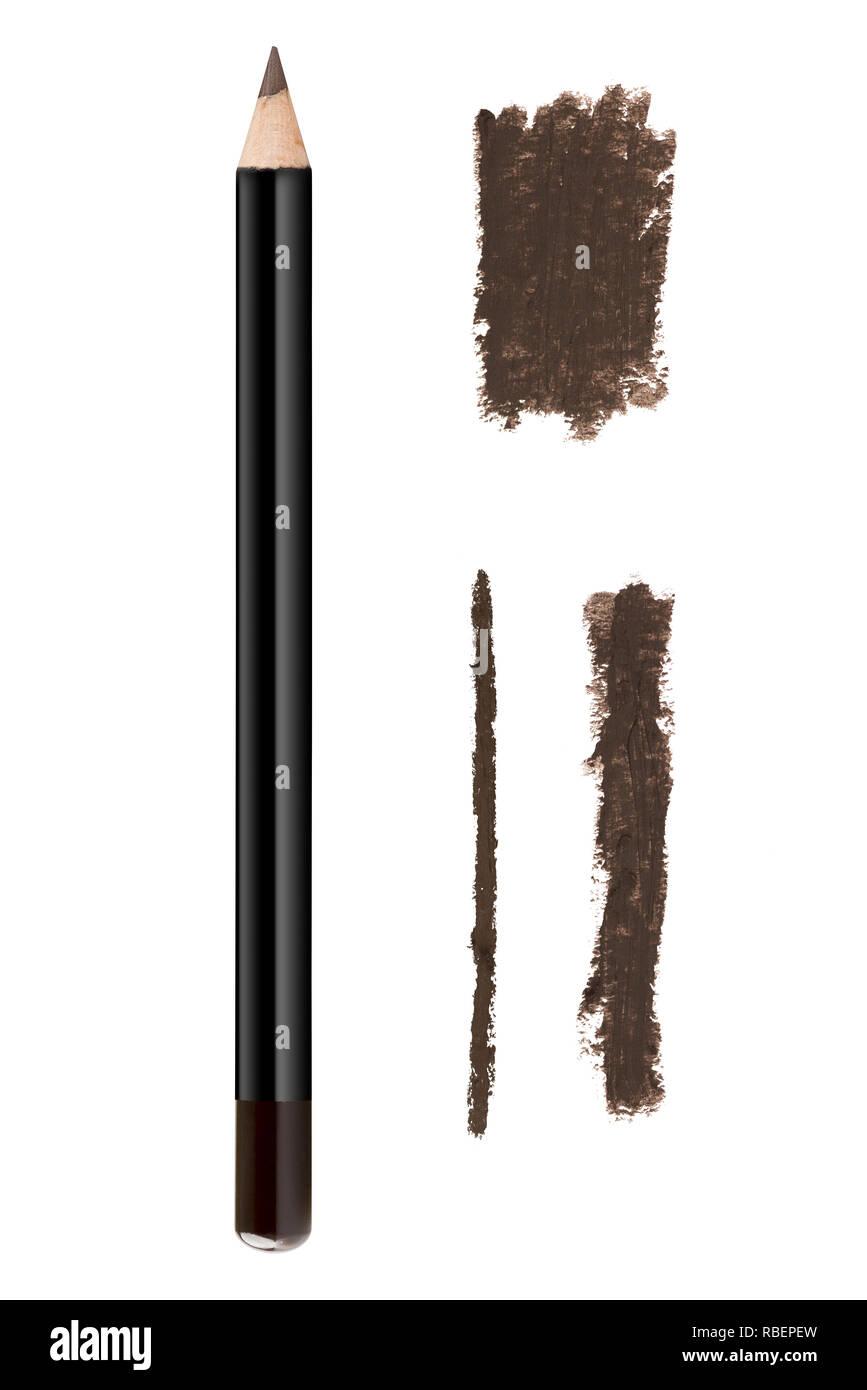 Braune Farbe Kosmetik eyeliner Pencil und Anschläge, Schönheit Muster auf weißem Hintergrund Stockbild
