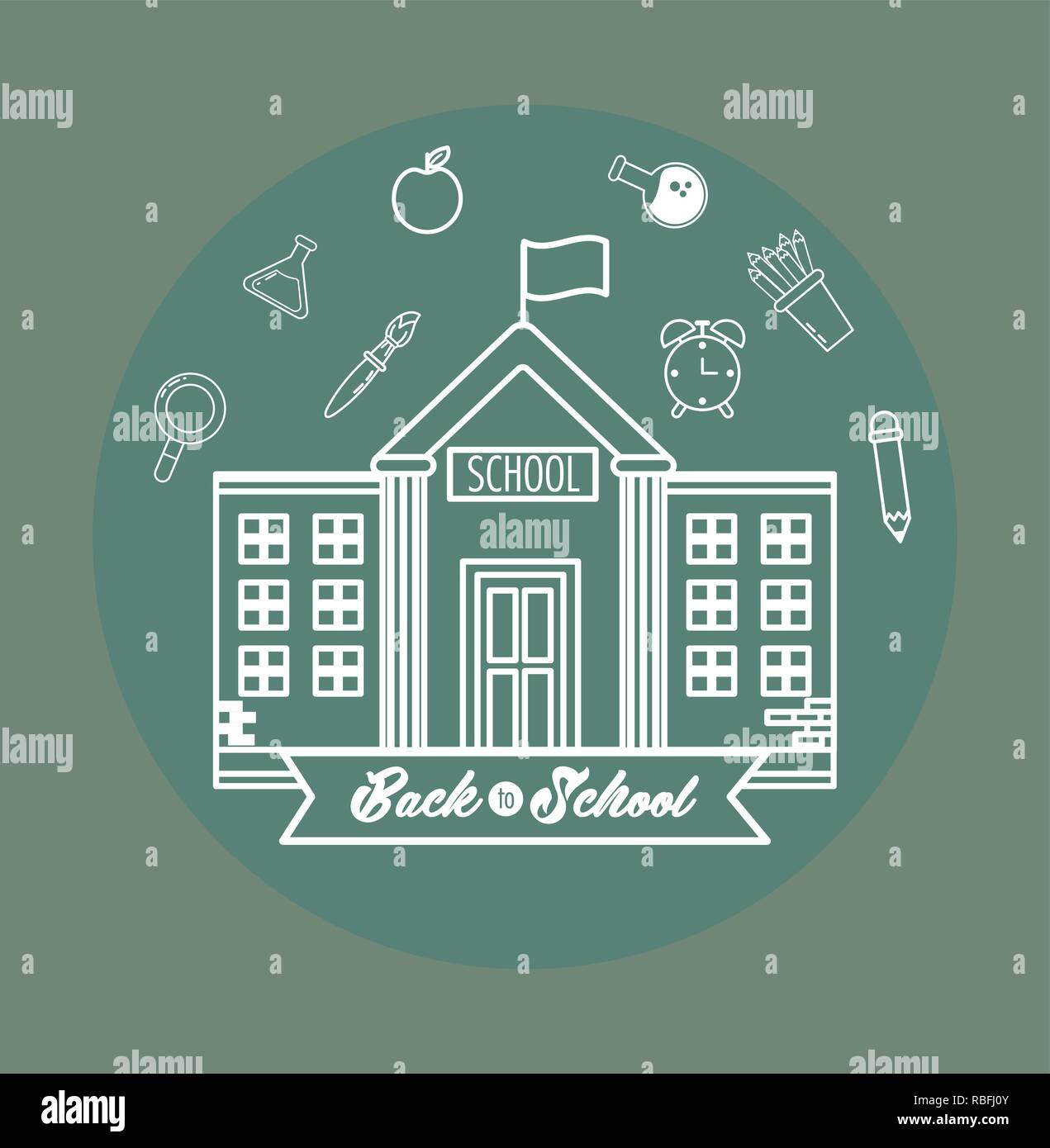 Schule mit Erlenmeyerkolben und Bildung liefert Stockbild