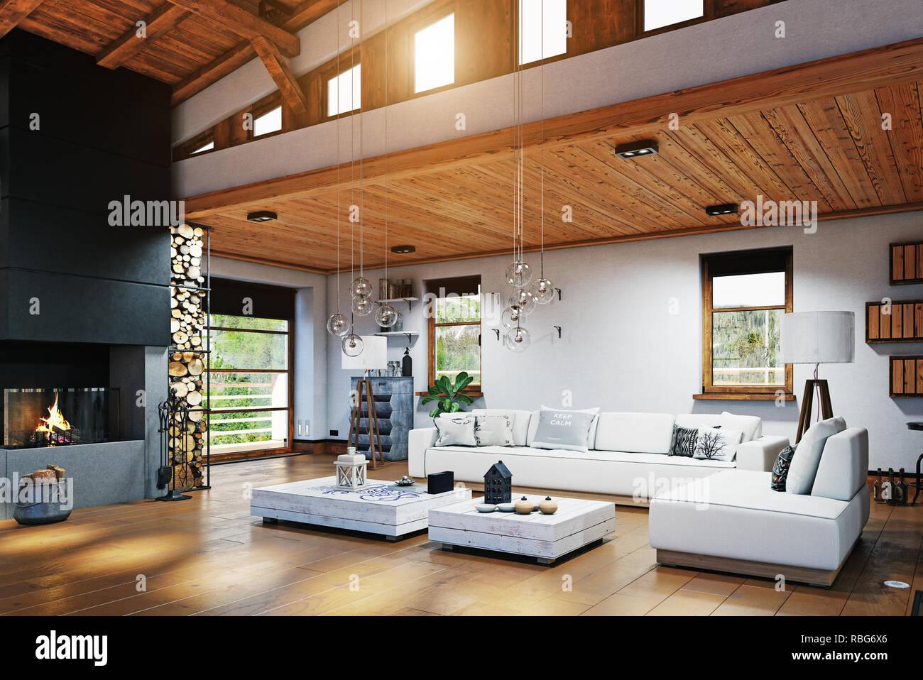 Modernes Chalet Interieur. 3D-Rendering Stockfoto, Bild ...