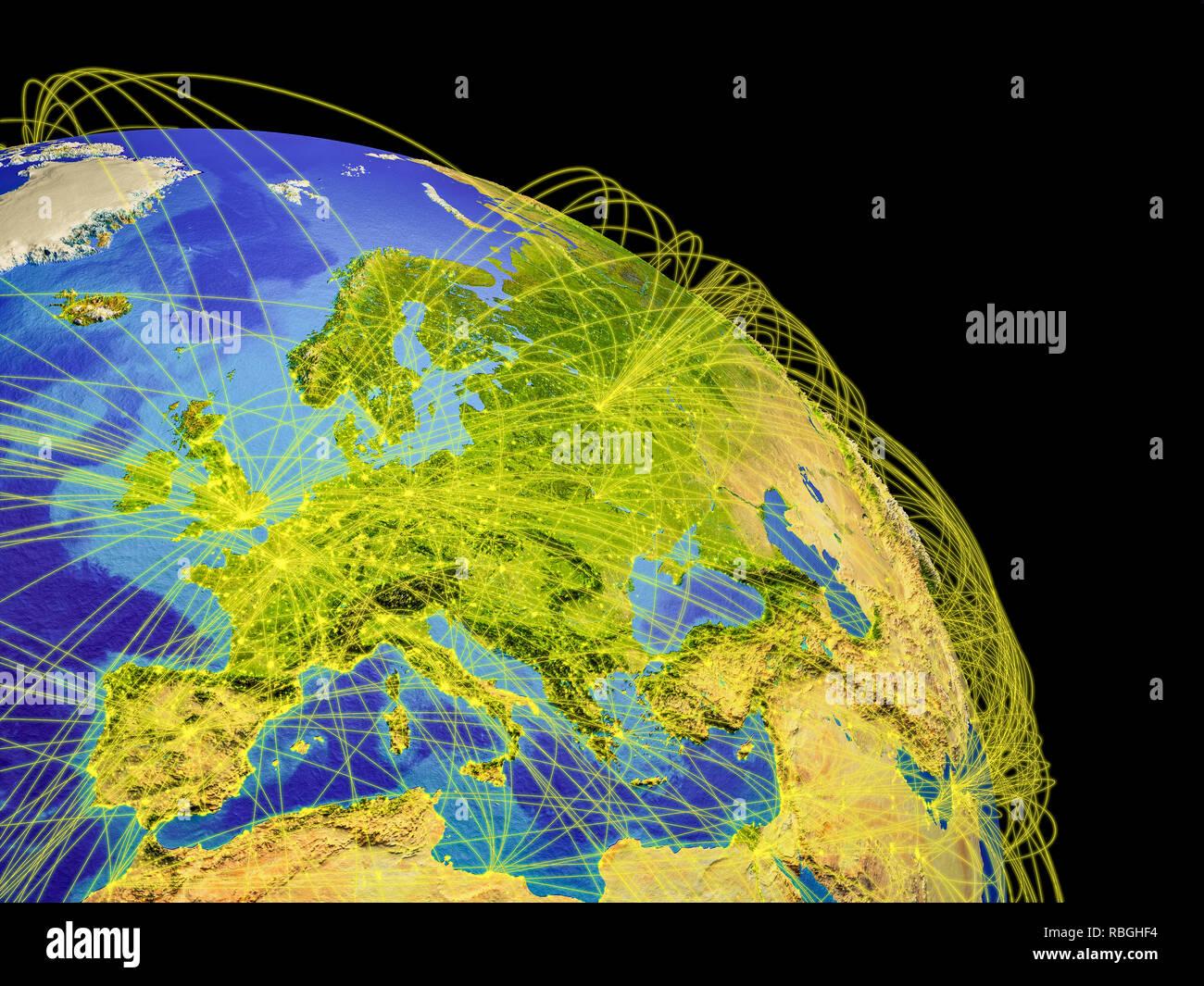 Europa aus dem All mit Trajektorien, die globale Kommunikation, Reisen, Verbindungen. 3D-Darstellung. Elemente dieses Bild von der NASA eingerichtet. Stockfoto