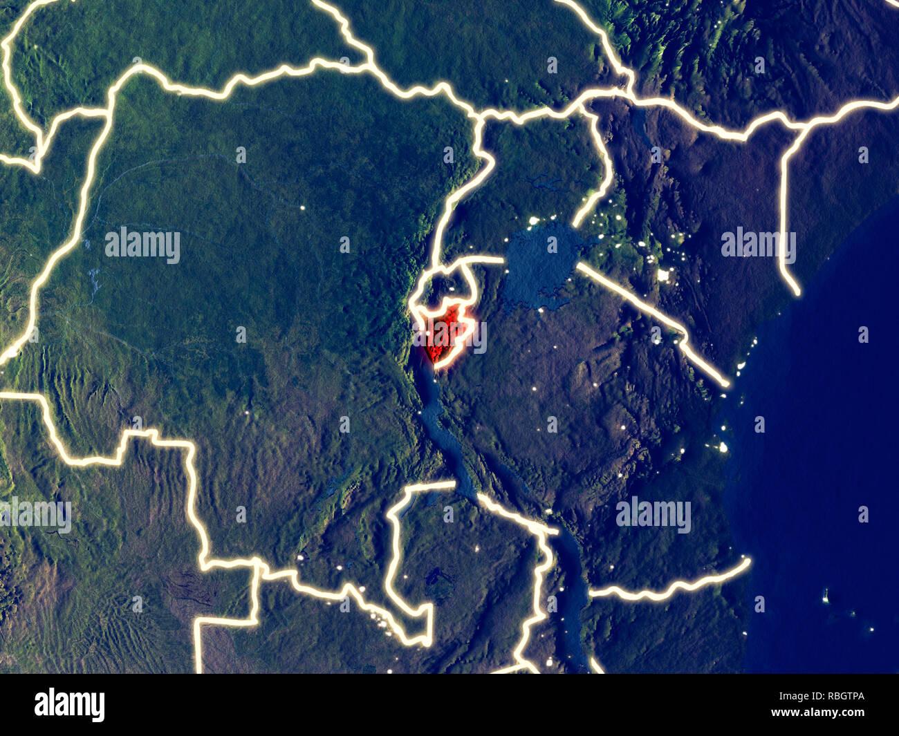 Burundi Aus Dem Weltraum Auf Die Erde Bei Nacht Sehr Feine Details