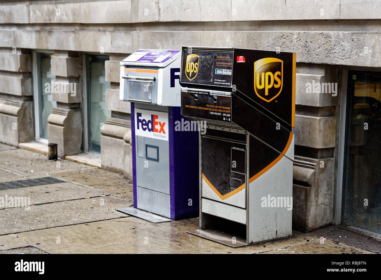 FedEx und UPS Porto, in Toronto Stockbild
