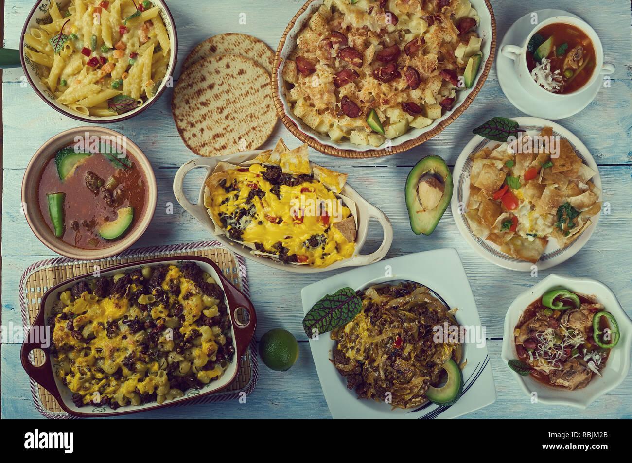Tex-Mex-Küche, Traditionelle verschiedene Gerichte, Ansicht von oben ...