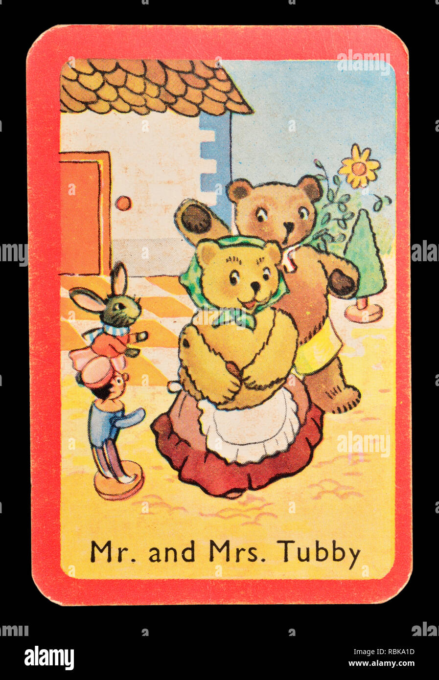 Karte von einem Noddy snap Kartenspiel (1955) - Herr und Frau Tubby Stockbild
