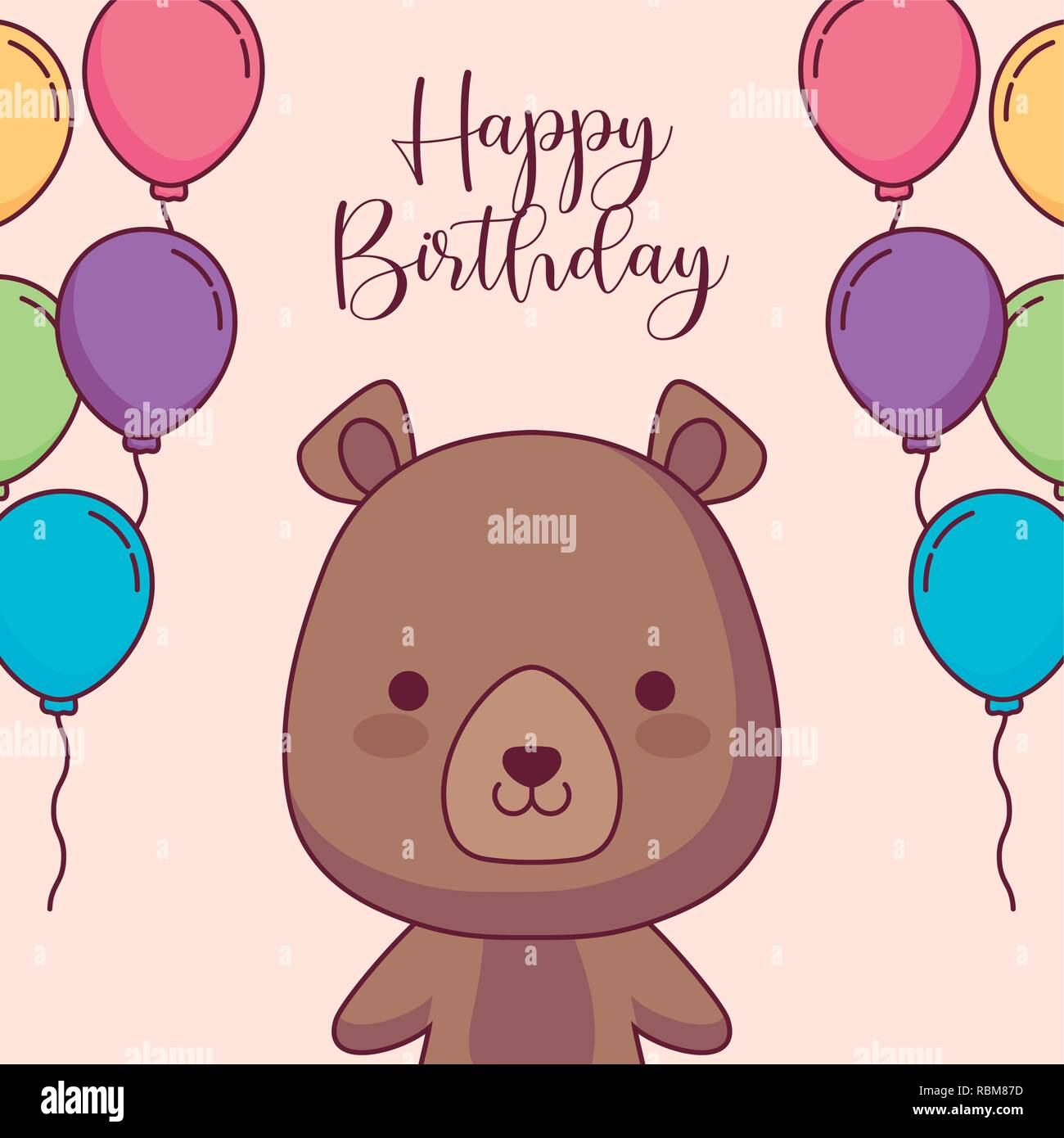 Cute Bear Teddy Happy Birthday Card Vector Illustration Design