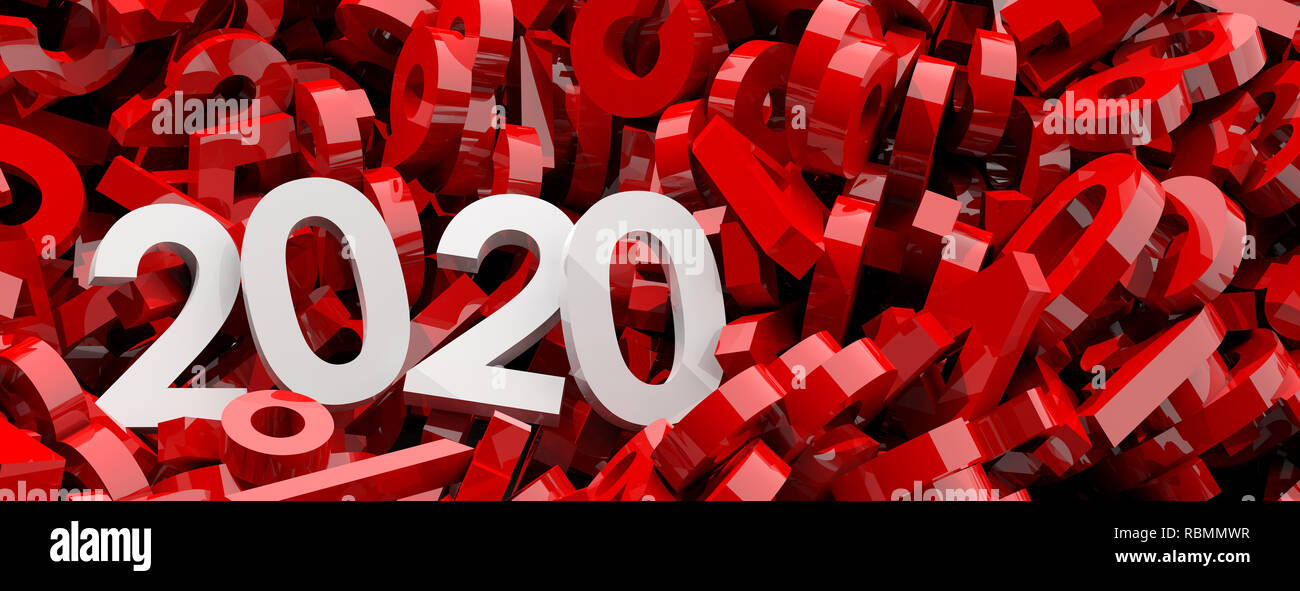 2020 f r das neue jahr white 2020 ziffern auf rote zahlen. Black Bedroom Furniture Sets. Home Design Ideas