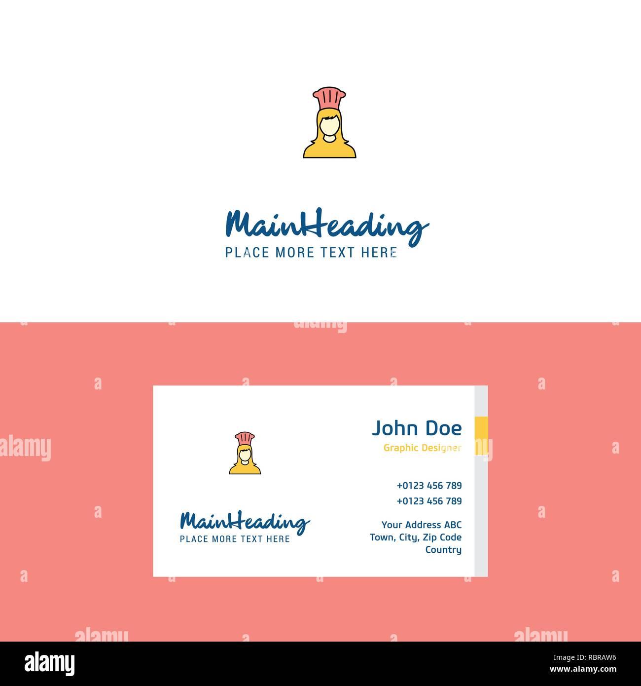 Flache Koch Logo Und Visitenkarte Vorlage Business Konzept