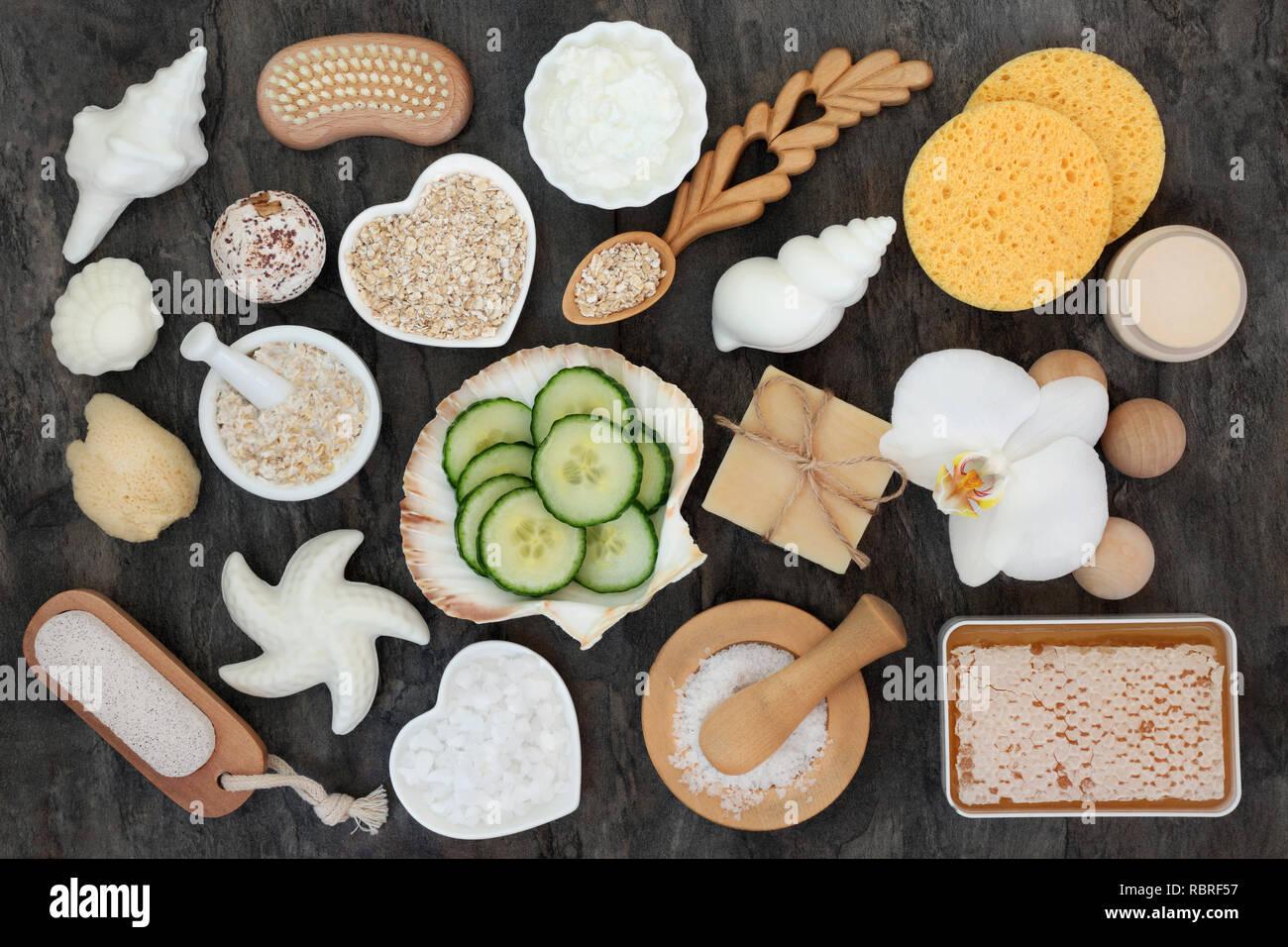 Natürliche Hautpflege und Körperpflege Zutaten und Produkte, Health Care Concept vorteilhaft für Hauterkrankungen wie Neurodermitis, Schuppenflechte und Akne. Stockbild