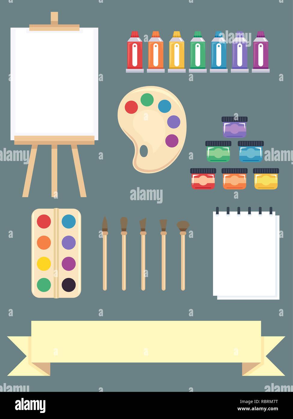 Abbildung Malerei Elemente Aus Staffelei Leinwand Farben