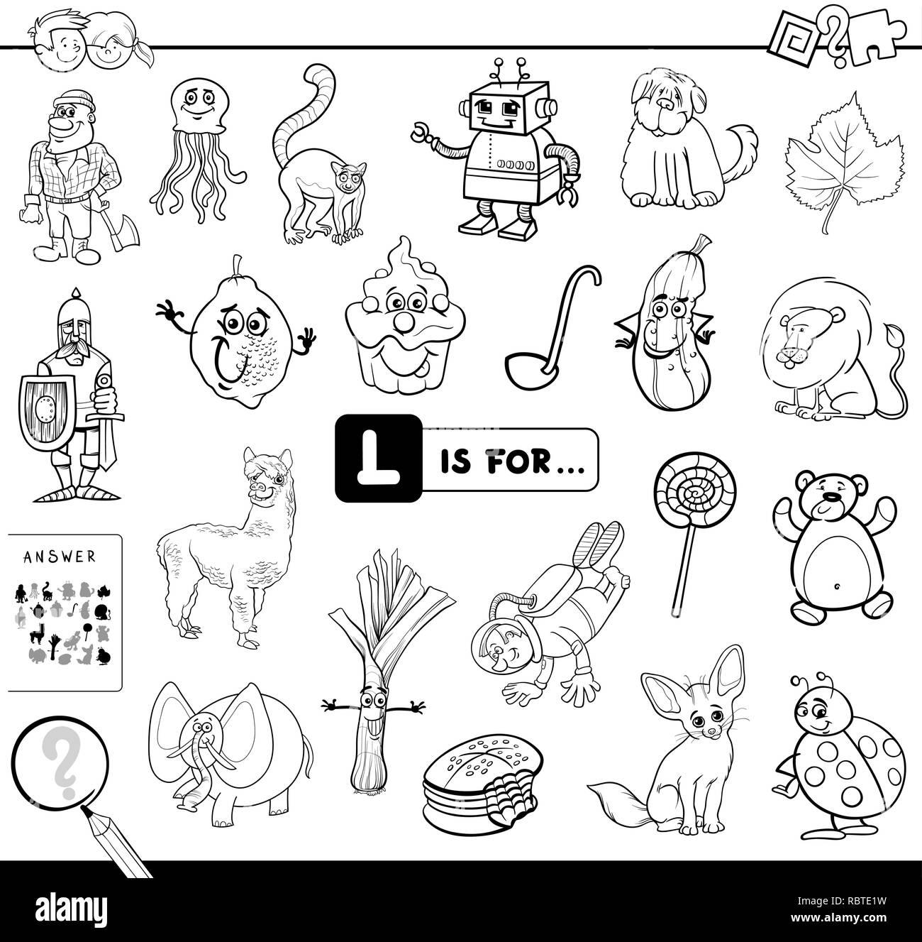 Schwarze Und Weiße Cartoon Abbildung Bild Suchen Beginnend Mit Dem