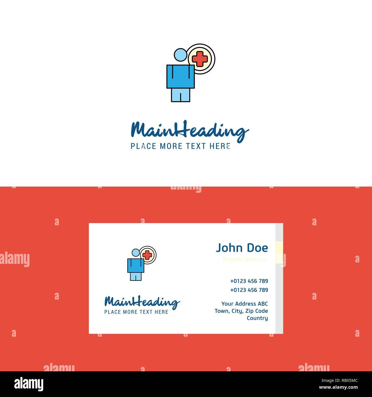 Flache Arzt Logo Und Visitenkarte Vorlage Business Konzept