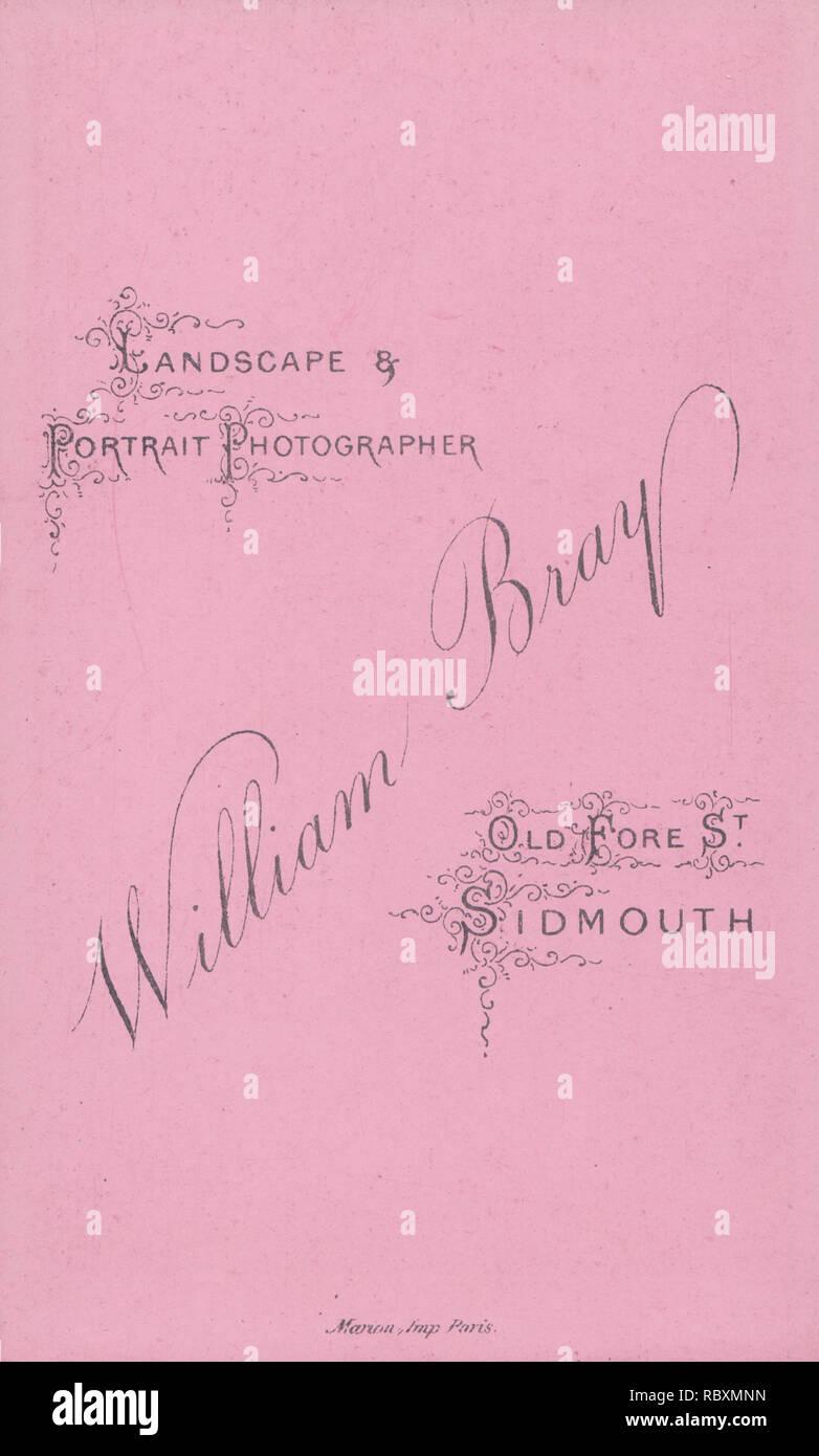 Viktorianische Werbung CDV Carte De Visite Zeigen Die Illustration Und Kalligraphie Von William Bray