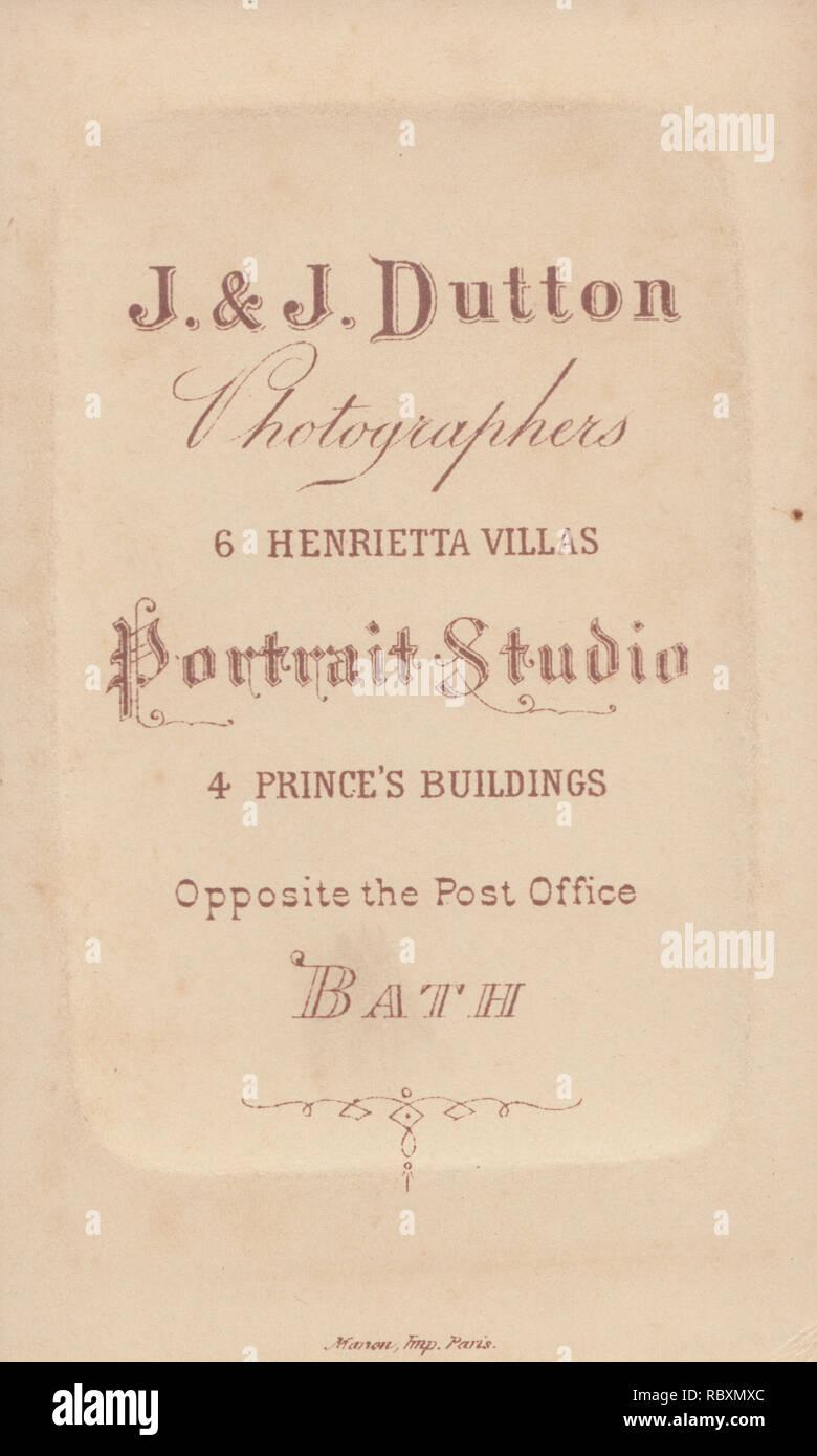 Viktorianische Werbung CDV Carte De Visite Zeigen Die Illustration Und Kalligraphie Von JJ Dutton Fotografen 6 Henrietta Villen 4 Princes Bath