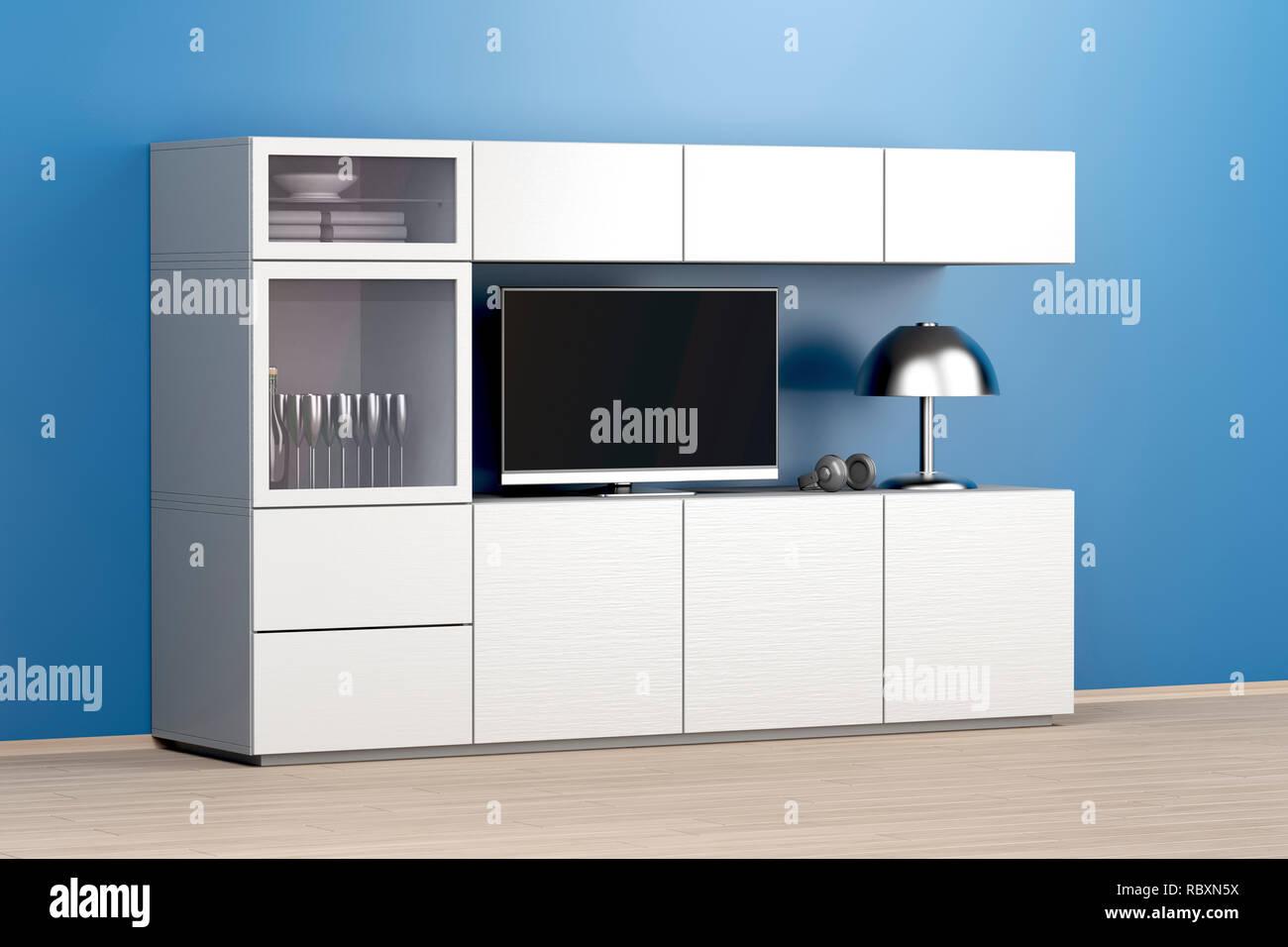 Lcd-TV auf weißen großen TV-Schrank im Wohnzimmer Stockfoto, Bild ...