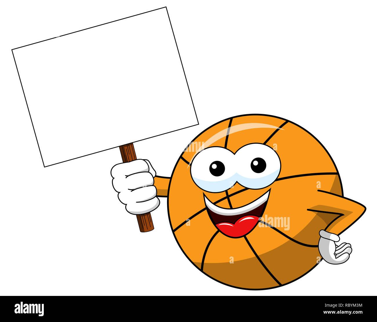 Basketball Ball cartoon lustige Zeichen Kopie leer banner Isolated On White Stockbild