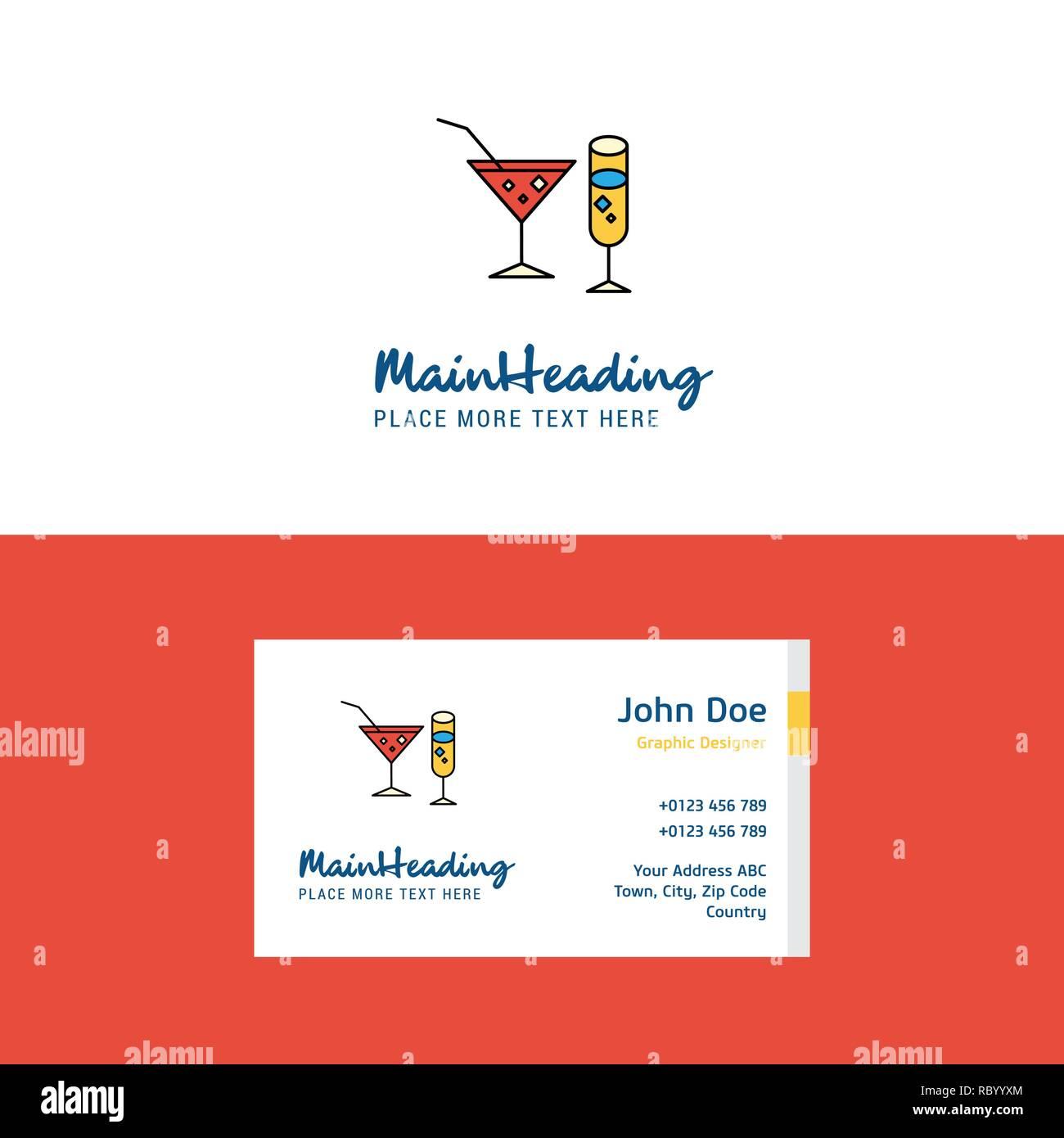 Flache Getränke Logo Und Visitenkarte Vorlage Business