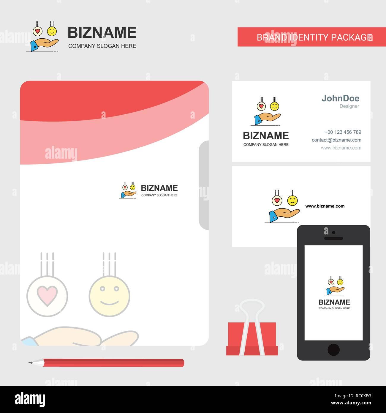 Emoji In Händen Business Logo Ordnerdeckel Visitenkarte Und