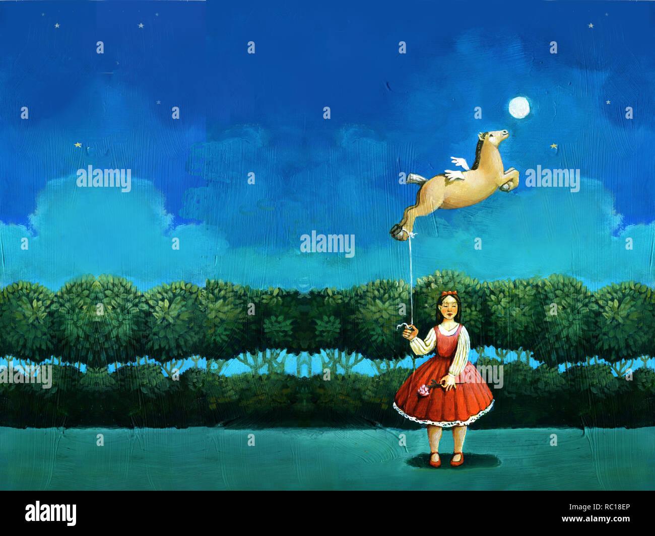In der Nacht Mädchen gekleidet von Red Hat als Spielzeug Ballon in Form des Fliegens Fohlen surreale Acrylfarbe Archetypus des Weiblichen Stockbild