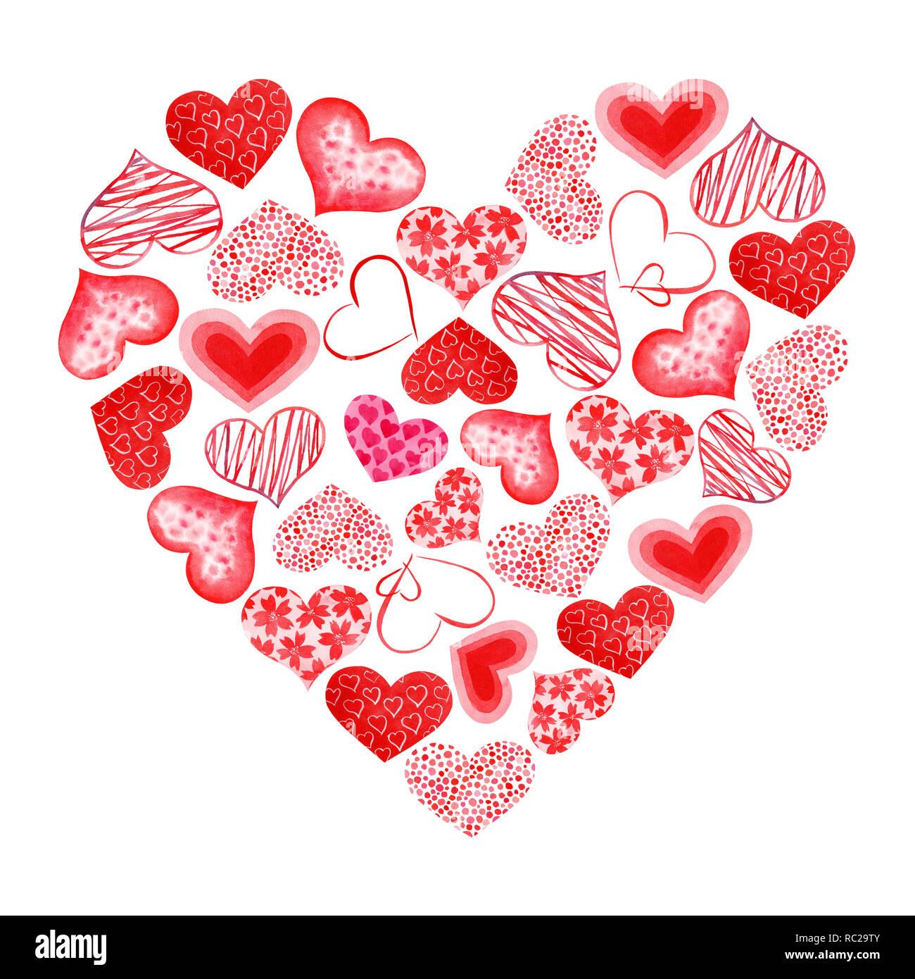 Aquarell Von Hand Bemalt Rotes Herz Symbol Der Liebe Isolierte