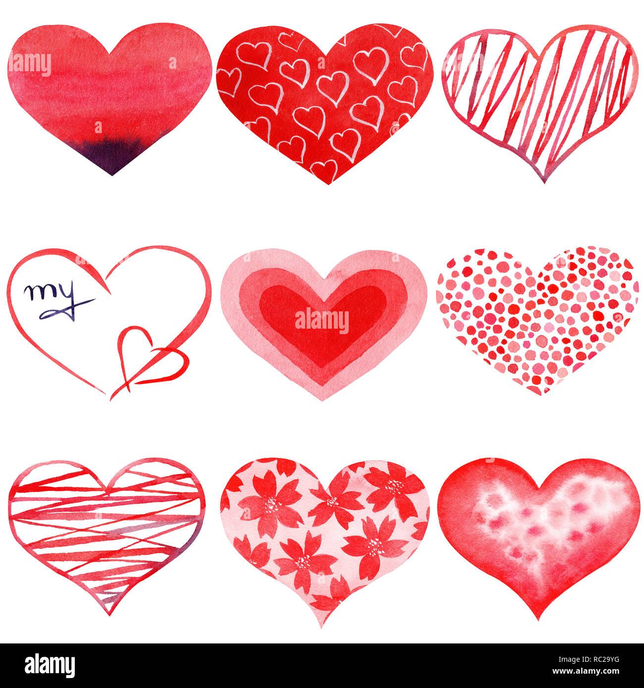 Satz Von Aquarell Handbemalten Roten Herzen Symbol Der Liebe